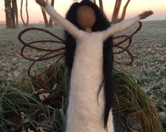 needle felted angel, alpaca wool angel, Christmas angel