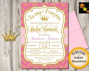 spanish baby shower princess invitation girl hot pink and gold