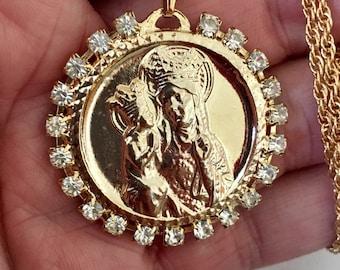 """Vintage religious pendant, Ste. Anne De Beaupre pendant, Patron Saint medallion, Saint Anne medallion, large 1 1/2"""" pendant"""