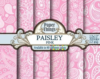 Pink Paisley Digital Paper: Gray Digital Indian Paisley Pattern - Pattern Scrapbook Paper with Pink Printable Paisley Download, Shapes