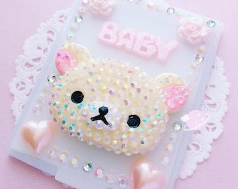 Baby Rilakkuma decoden compact mirror, kawaii decoden mirror, decoden accessory, korilakkuma rhinestones, rhinestone decoden, pink mirror