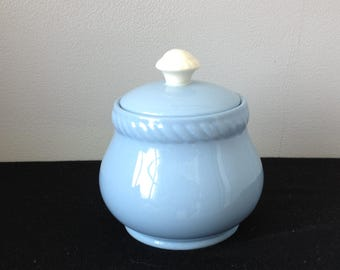 Homer Laughlin Kraft-Blue Sugar Bowl with Lid
