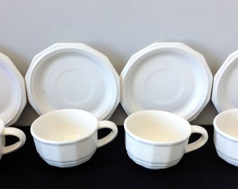 Set of 4 Pfaltzgraff Heritage White Cups and Saucers