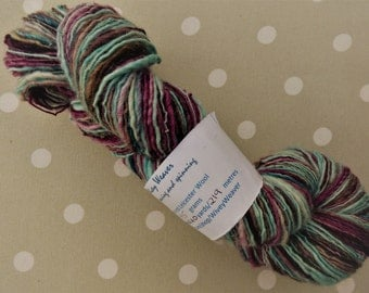 Handspun yarn - blue faced Leicester wool - 95 grams - blend of wine reds, pale to dark turquoise and brown