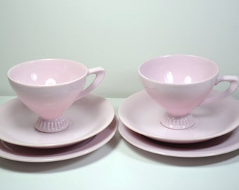 Vintage and trio pink tea cup,Cup and Saucer,English Fine China Tea set of two,Three pieces each,Fine and Elegant,Antique,bridal parties
