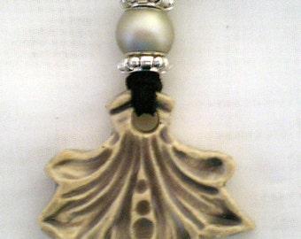 Handmade stoneware necklace with grey glaze.  J-27