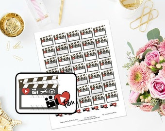 Printable Vlogging Filiming Planner Stickers for ECLP MAMBI Planner