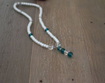 Handmade Teal Glass Bead and Pearl Necklace