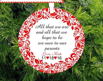 All That We are, We Owe To Our Parents Personalized Porcelain Christmas Ornament | Parents Wedding Gift - lovebirdschristmas