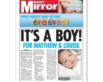 New Baby Boy Personalised Newspaper  Single page