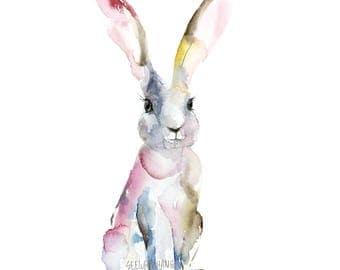 Hare Watercolor Art Print - modern whimsical rabbit art, rabbit watercolor for easter gift, easter bunny watercolor art print