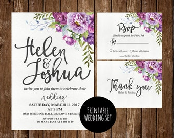 Printable Floral Wedding Invitation, Flower Wedding Invitation, Purple Wedding  Invitation, Floral Printable,