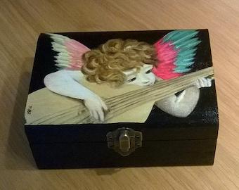 Jewelry box. Wooden jewelry box. Wooden box hand painted. Hand painted box. Angel. Gift idea.