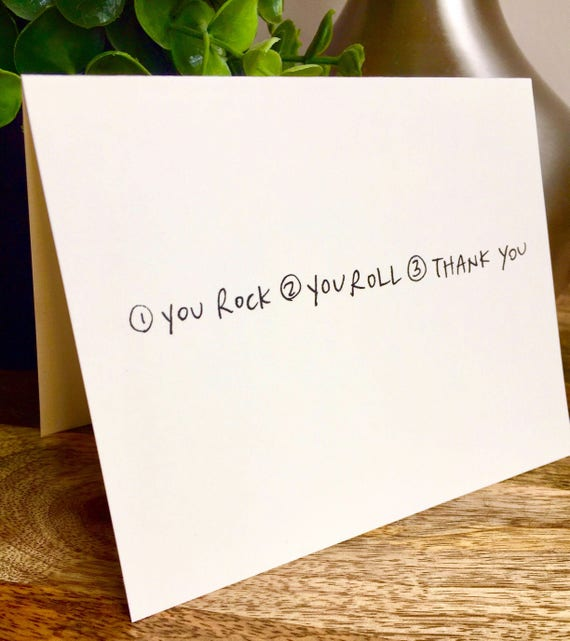 Rock n roll thank you card, lists thank you, thank you card simple, you rock you roll card, handlettered stationery, sidesandwich