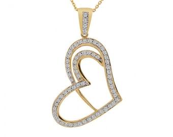 0.75 Carat Brilliant Round Diamond Heart Pendant 14K Yellow Gold