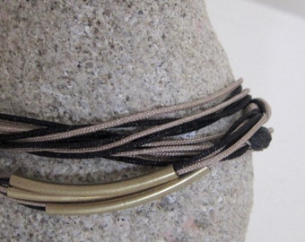 Geometry cord bracelet/geometry bracelet/waxed cord/double color/bronze bracelet/black bracelet/gift for mom/brass/gift for herb