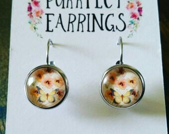 Handmade sterling silver lever back floral earrings 12mm