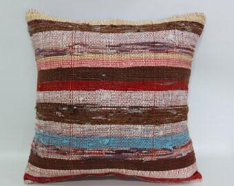 18x18 Decorative Kilim Pillow Fllor Pillow Sofa Pillow Ethnic Pillow Cushion Cover 18x18 Cotton Kilim Pillow Washable Pillow  SP4545-1255