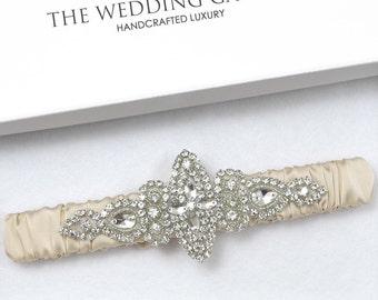 Champagne Wedding Garter, Ivory Garter, Leg Garter, Bridal Garter Online, Rhinestone Garter, Garter For Wedding, Plus Size Garter, Garter