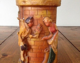 Vintage 1940s Walldurn Baden Johann Gunter HandMade Figural 18th Century Scene Wax Candle est.1924 German Colonial Rustic Decor Historical