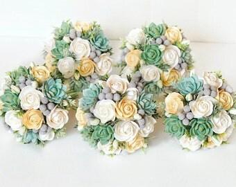 Bridesmaids bouquet, succulent bouquet, wedding clay bouquet, peach bouquet, wedding set, clay flowers bouquet, small bouquet, accessories