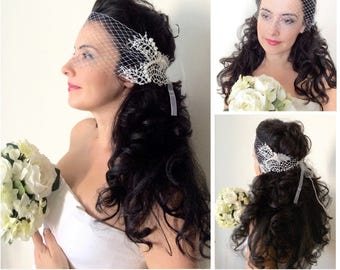 Bridal Wedding Bandeau Birdcage Veil with Lace, Swarovski Crystals & Pearls. Headpiece Hair piece Accessory, French Russian Veiling White