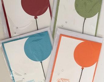 4 Balloon Kids Birthday greetings Cards pack