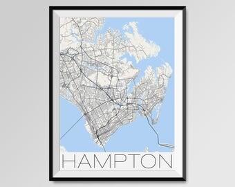 HAMPTON Virginia Map, Hampton City Map Print, Hampton Map Poster, Hampton Wall Map Art, Hampton gift, Custom city maps, Personalized maps