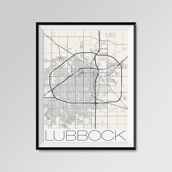 Lubbock City Maps Print Texas Poster Minimalist Street Maps