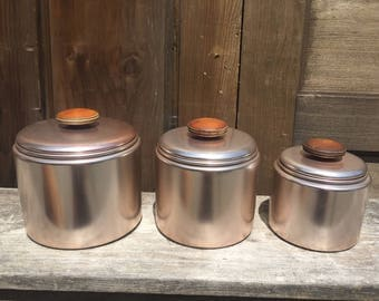 Set of Vintage Aluminum Nesting Canisters