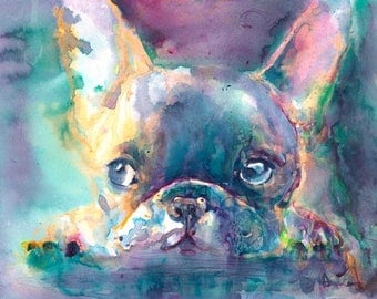 French Bulldog Art Print/ Frenchie dog art/ French bulldog painting/ Dog portrait/ Pet Portrait/ colorful dog art/ bulldog watercolor/