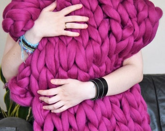Giant stitch blanket knitting KIT, blanket 40x60 inch + total beginers instructions how to giant knit.