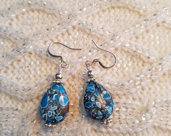 Blue Mosaic Beaded dangle earrings