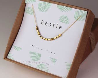 Best friend gift, best friend necklace, bestie necklace, Morse code necklace, delicate necklace, gold, Morse code bracelet, sterling silver