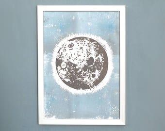Moon - fantasy landscape - art print, linocut, original