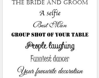 12 Personalised Wedding I SPY Game Cards - Camera Fun - Wedding Favours