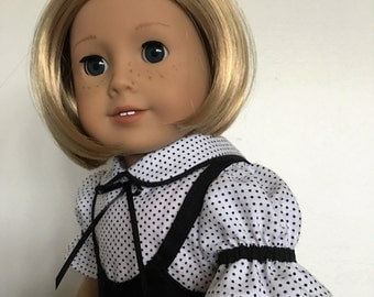 Black Vintage Style Jumper Skirt With Blouse fits American Girl Dolls