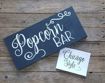 Popcorn Bar Sign, Chalkboard Popcorn Bar Sign, Black & White Sign, Wedding Popcorn Bar Sign, He Popped the Question, Ready to pop, Wooden