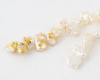 Gold Foil on Freshwater Pearl Earring