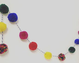 Multicoloured vibrant pompom garland, pompom bunting, party decor, bright childrens decor, nursery decor, wall art, colourful pompom party
