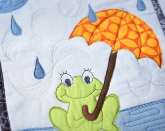 Frog singing in the rain - umbrella - mini quilt - modern kids room - baby room art - gender neutral
