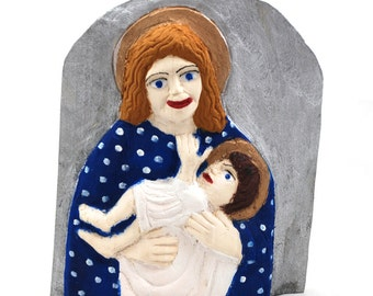 Bas - relief with Mother of God / Mother of God with a Child / folk sculpture /folk art from Poland