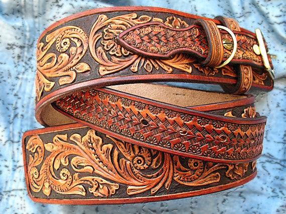 Dog collar hand tooled carved western sheridan style