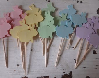12 Easter Cupcake toppers, Bunny Cupcake toppers, bunny toothpicks, Easter decorations, Bunny Cake Toppers, Easter Bunny Cake Toppers