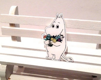 Brooches Trolls Moomintroll flowers, the Snork Maiden lovely, accesories, appliques series cartoon clothing patch