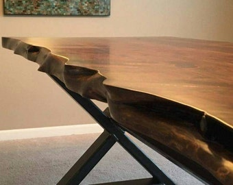 Cedar dining table with custom base, Cedar Table, Live Edge, Metal Base, X-frame Table