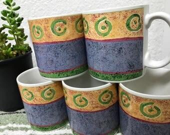 "Sukara ""Malaga"" set of Coffee Mugs, Cream and Sugar, Designed by Sue Zipkin"