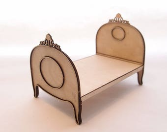 1:24 scale miniature dollhouse furniture kit Catherine bed