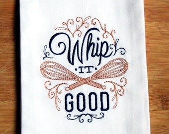 100% Ringspun Cotton Flour Sack Tea Towel / Dish Towel - Whip It