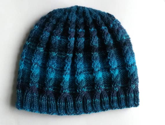 Man's knit beanie: lightweight wool mix hat. Cable knit. Original design. Made in Ireland. Matching item available. Men's Aran beanie.